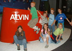 Climbing on Alvin during our field trip to Mystic Aquarium
